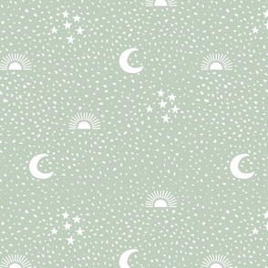 Boho universe sun moon and stars lunar magic summer spots Scandinavian style nursery neutral sage green