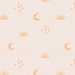 Boho universe sun moon and stars lunar magic summer spots Scandinavian style nursery beige sand honey yellow