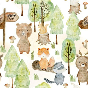 """12"""" Woodland Watercolor Animals - Baby Animal in green Forest light background"""