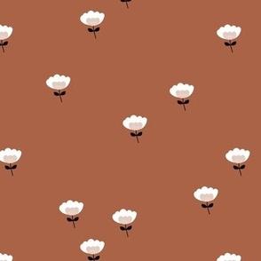 Sweet boho cotton flowers botanical floral spring summer print neutral rust brown