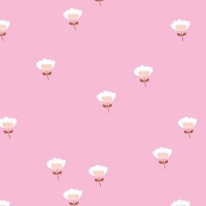 Sweet boho cotton flowers botanical floral spring summer print neutral pink girls