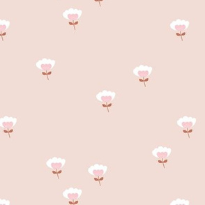 Sweet boho cotton flowers botanical floral spring summer print sand rust pink girls