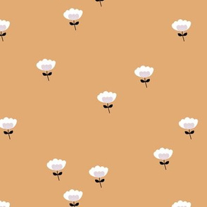 Sweet boho cotton flowers botanical floral spring summer print neutral honey yellow