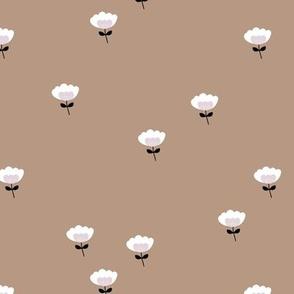 Sweet boho cotton flowers botanical floral spring summer print neutral beige black and white