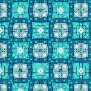 70s style check bedsheet - aqua, blue