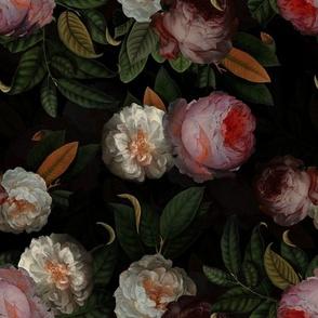 "14"" Jan Davidsz. de Heem Vintage Roses, Antique Flowers Pattern black"