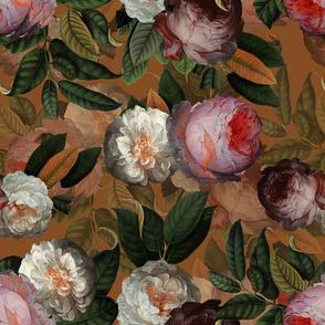 "14"" Jan Davidsz. de Heem Vintage Roses, Antique Flowers Pattern mustard brown"