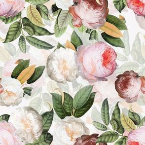 """14"""" Jan Davidsz. de Heem Vintage Roses, Antique Flowers Pattern white"""