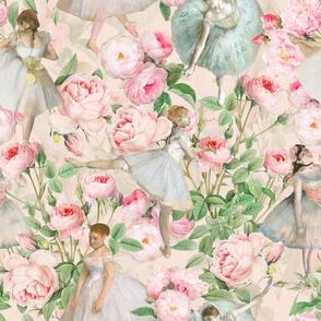 "14"" Ballet Practice - Edgar Degas Ballerinas With Pink Roses - pink"