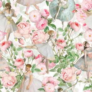 "14"" Ballet Practice - Edgar Degas Ballerinas With Pink Roses -  white"