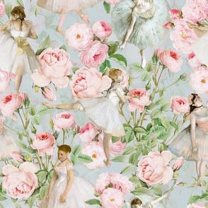 "14"" Ballet Practice - Edgar Degas Ballerinas With Pink Roses - teal"