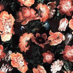"""14"""" Jan Davidsz. de Heem Vintage Poppies, Antique Flowers Pattern sepia black"""