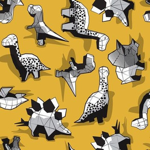 Small scale // Geometric Dinos // non directional design mustard yellow background black and white dinosaurs
