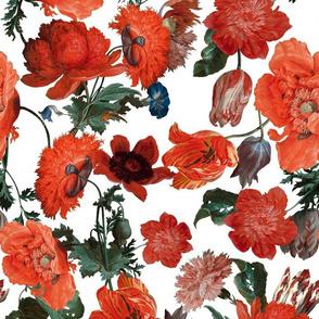 "14"" Jan Davidsz. de Heem Vintage Poppies, Antique Flowers Pattern white"