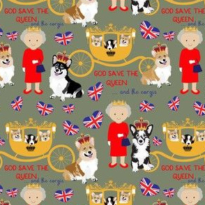 """4.5"""" queen  with the royal corgis - god save the queen - corgi pattern - queen pattern  olive"""