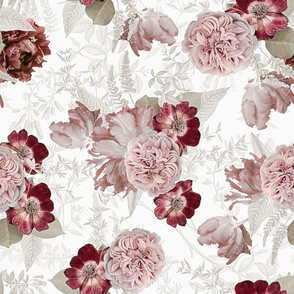 """14"""" Vintage Real Roses On white"""