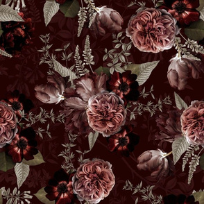 "14"" Vintage Real Roses On Dark Bordeaux"