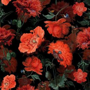 "14"" Vintage Dark Night Poppies by Jan Davidsz. de Heem on black"