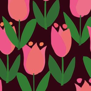 Spring Garden - pink tulips