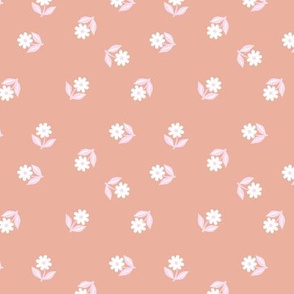 Romantic boho daisy flowers botanical floral spring summer Scandinavian nursery print peach pink girls