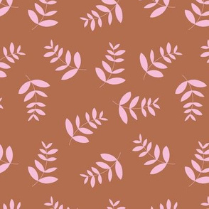 Boho island vibes tropical palm leaves minimal garden print nursery pink rust copper girls