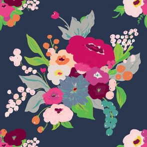 Spring Bouquet -  pinks & teal