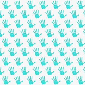 lt aqua hand print