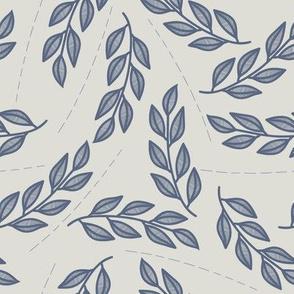 Lines and dark blue leaves // Grey // Modern botanical // Simple leaves