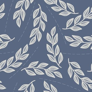 Lined leaves // Grey leaves and line on blue