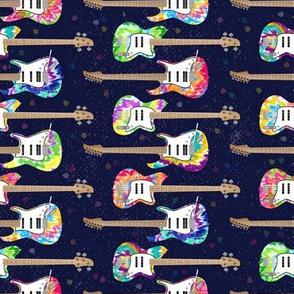 Tie Dye Guitars on Blue by ArtfulFreddy