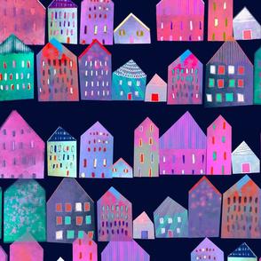 Love thy neighbour little tie dye houses