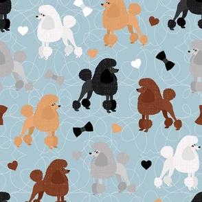 Poodles Bows and Hearts Mixed Coats Blue