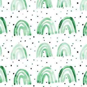 Jade green watercolor happy rainbows with dots - painted rainbow pattern for nursery