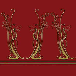 1m fabric - 00s in Red and Gold