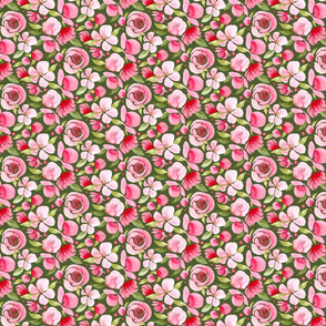 Pink Floral on Green