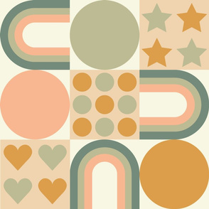 Rainbow block print peach and sage