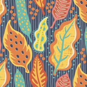 Papercut Leaves-Bright Pastels On Blue