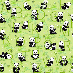 Panda and letters, green background