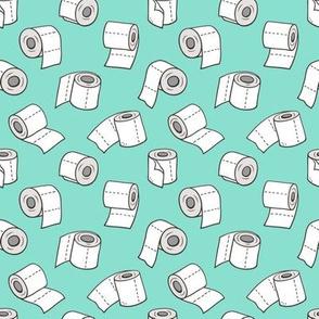 Trendy Toilet Paper Tissue Rolls on Mint Green Smaller 1,5 inch