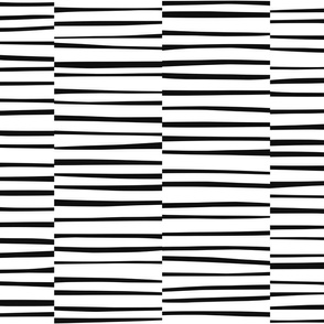 Loose Lines, twiggy stripes in black and white