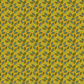 geometric leaves on mustard small