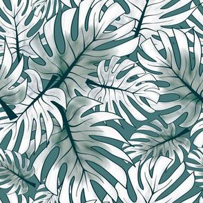 Palm Paradise - teal & white