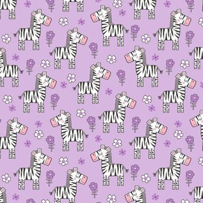 Zebra Horse With Flowers  Floral On Purple Purpel Smaller 1,5 inch