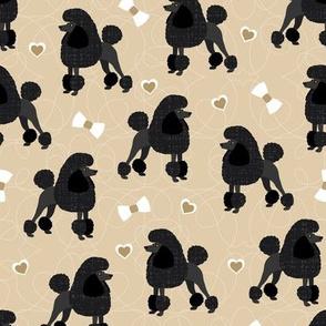Poodles Bows and Hearts Black Coats Tan
