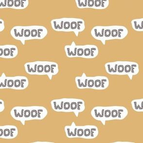 Dog lovers animal print leopard woof barking puppy text design typography mustard yellow ochre neutral