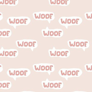 Dog lovers animal print leopard woof barking puppy text design typography beige pink