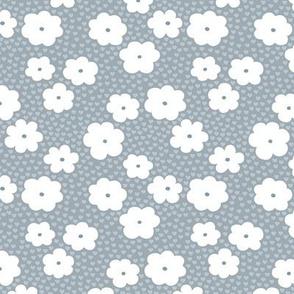 Sweet daisy summer flowers botanical floral spring love garden nursery print stone blue gray