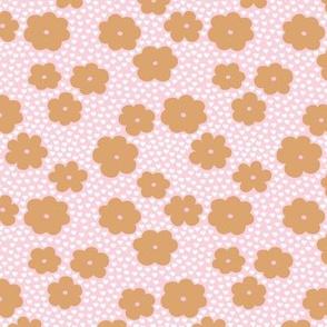Sweet daisy summer flowers botanical floral spring love garden nursery print pink cinnamon brown