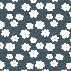 Sweet daisy summer flowers botanical floral spring love garden nursery print white rust cool blue