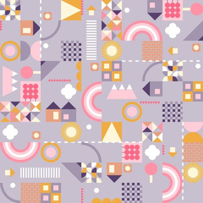 kids geometric - purple